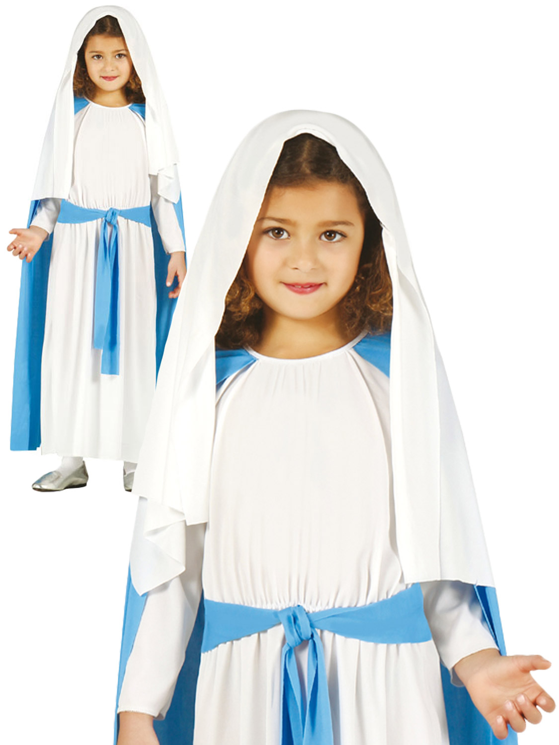 Christmas Mary Girls Fancy Dress Xmas Nativity Play Kids Childs Costume Outfit