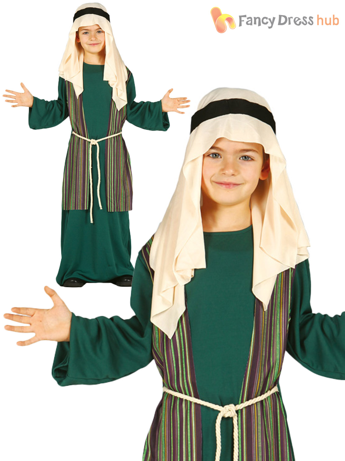 Shepherd Joseph Innkeeper Costumes Boys Girls Nativity Christmas Fancy Dress