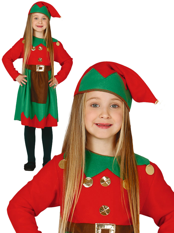 Girl s christmas elf costume all children fancy dress hub