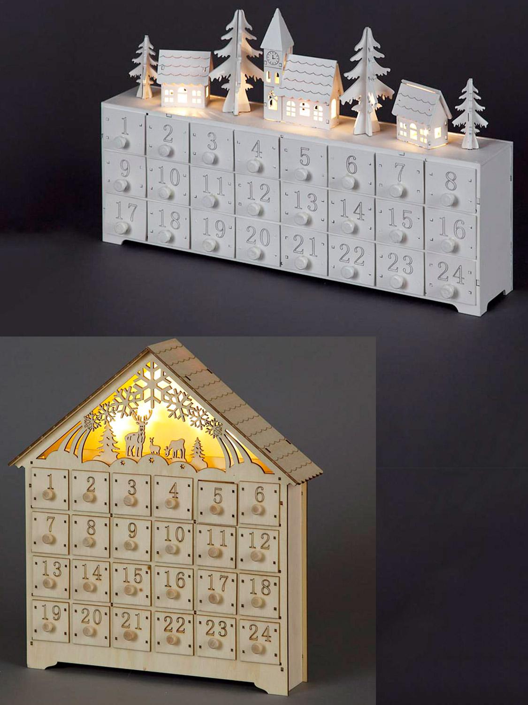 Christmas Advent Calendar Wooden Light Up Led Decoration