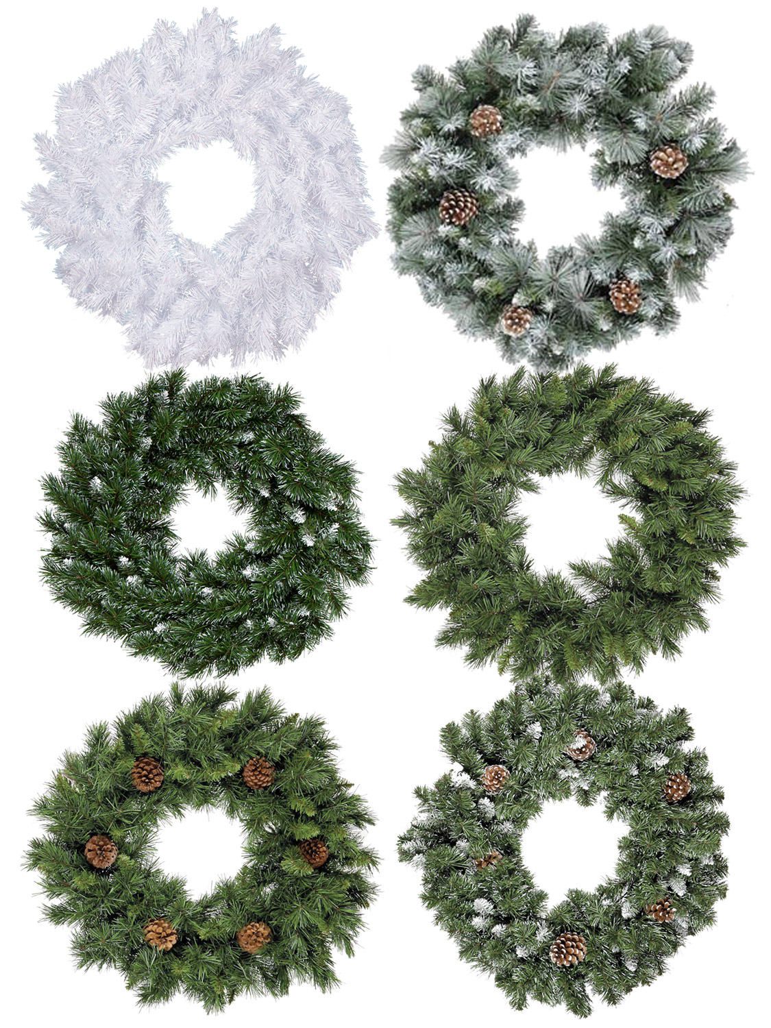 Christmas Wreaths.Details About 60cm Christmas Wreath Door Decoration Traditional Fir Green Snow Pine Cone White