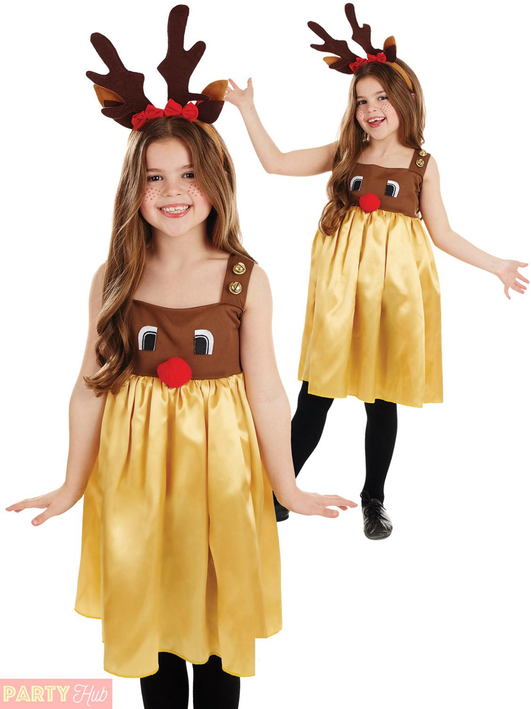 Girls-Rudolph-Reindeer-Costume-Childs-Christmas-Fancy-Dress-  sc 1 st  eBay & Girls Rudolph Reindeer Costume Childs Christmas Fancy Dress Party ...