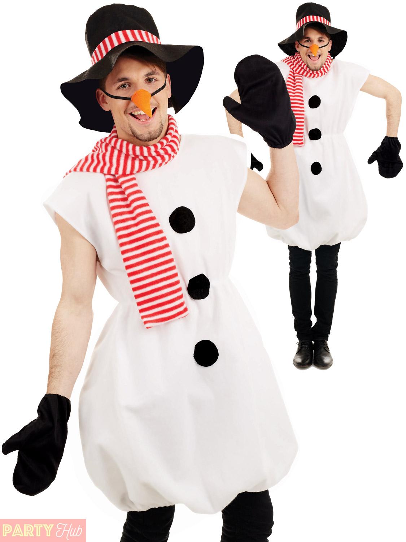 Mens Snowman Costume Adults Christmas Fancy Dress Novelty ...