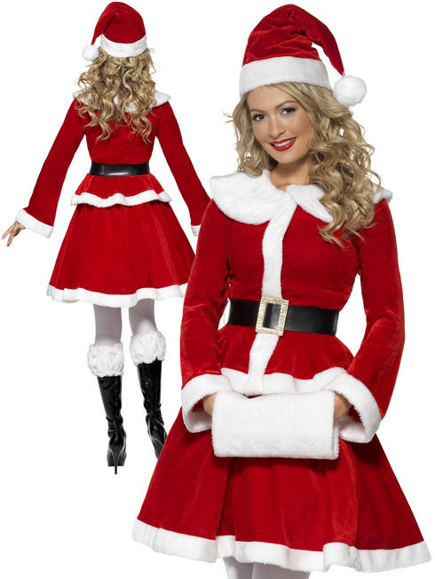 Ladies Miss Santa Costume With Muff