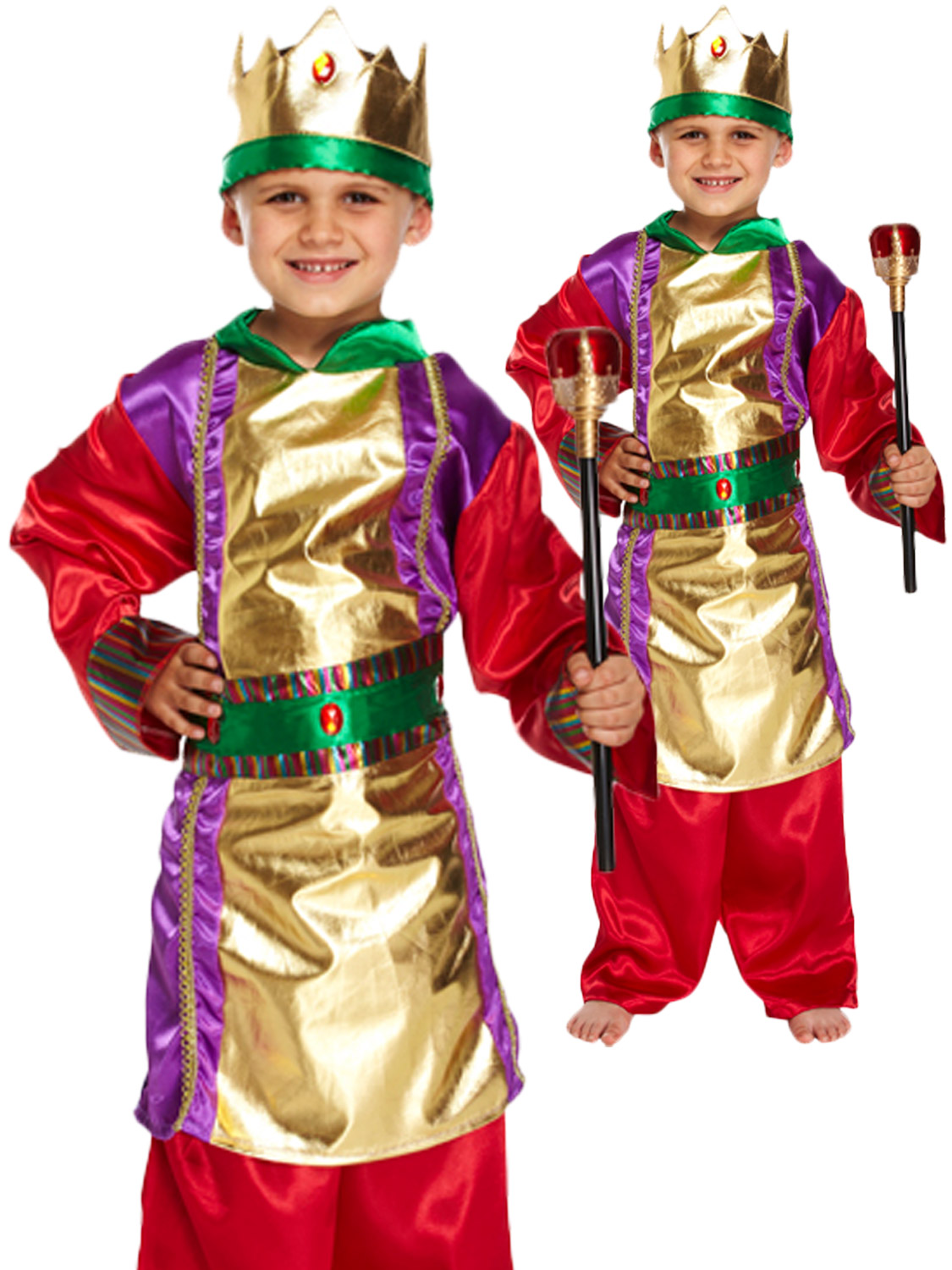 f8dcb425cdb34 Details about Boys King Costume Wise Man Christmas Fancy Dress Kids Child  Nativity Play Outfit