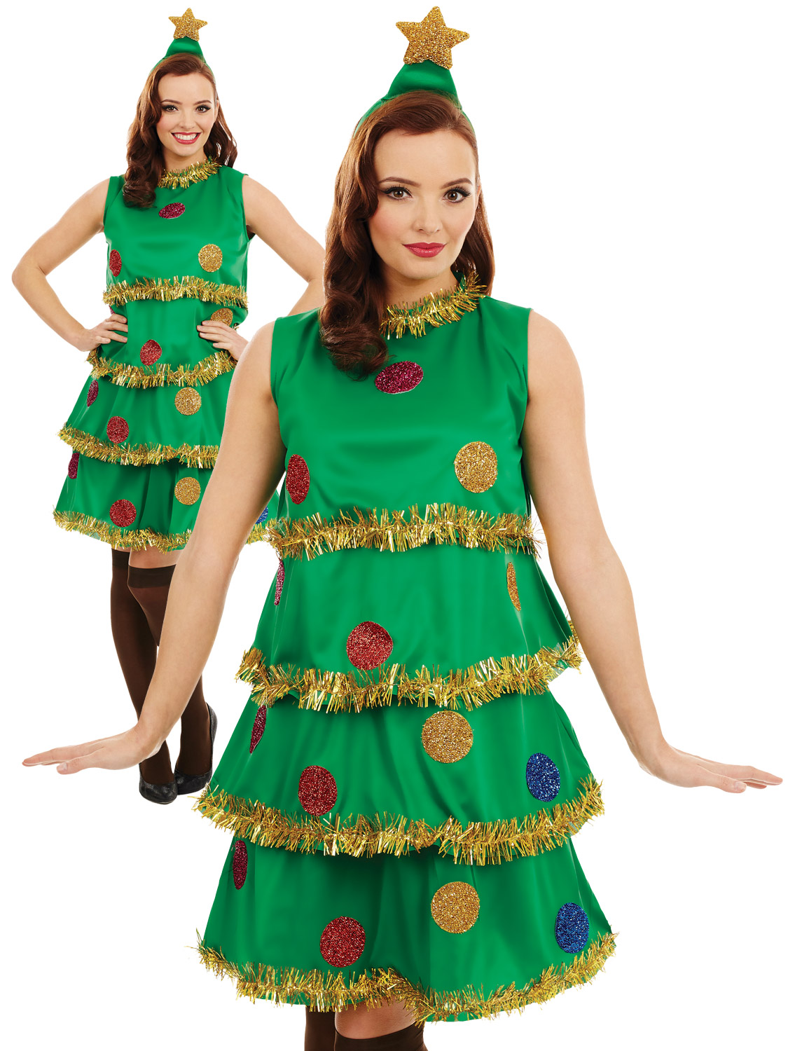 Ladies Christmas Tree Lady Costume Adult Fun Xmas Party Fancy Dress ... 780c64145