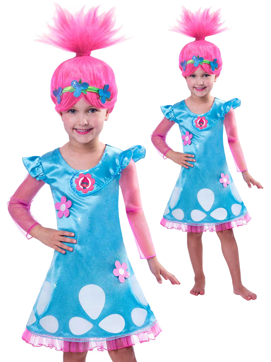 Image 2  sc 1 st  eBay & Girls Poppy Trolls Costume Childs TV Film Book Week Fancy Dress Kids ...