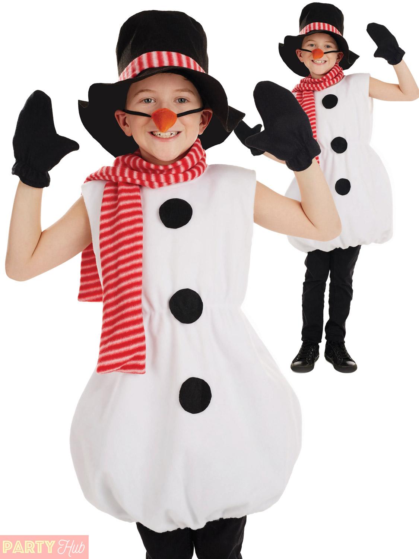 Childs-Snowman-Costume-Boys-Girls-Christmas-Fancy-Dress-  sc 1 st  eBay & Childs Snowman Costume Boys Girls Christmas Fancy Dress Kids Novelty ...