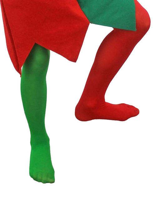 Girls Green & Red Tights - Large / X-Large