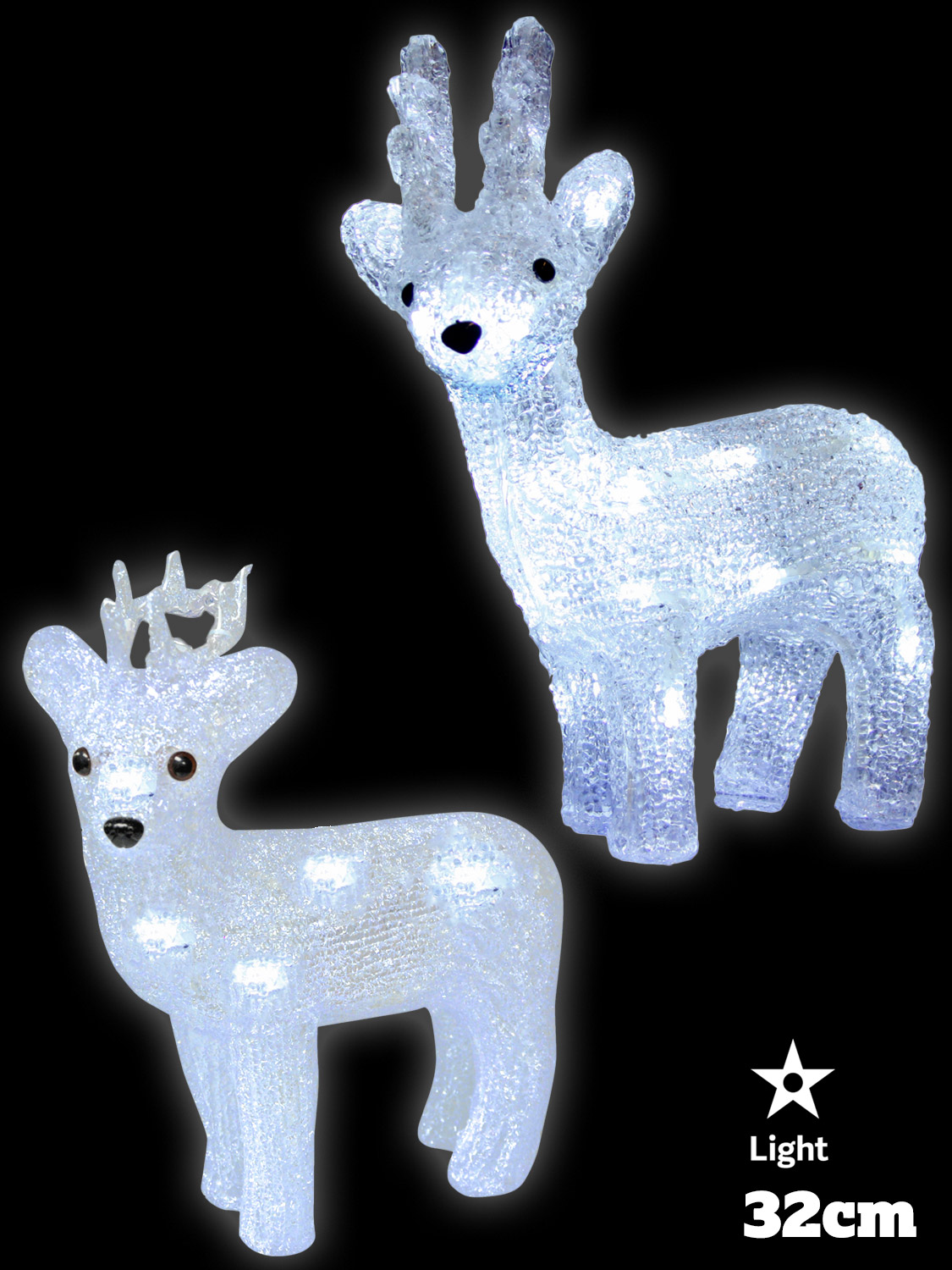 Details about Light Up Reindeer Acrylic Crystal Effect Christmas Decoration LED Indoor Xmas