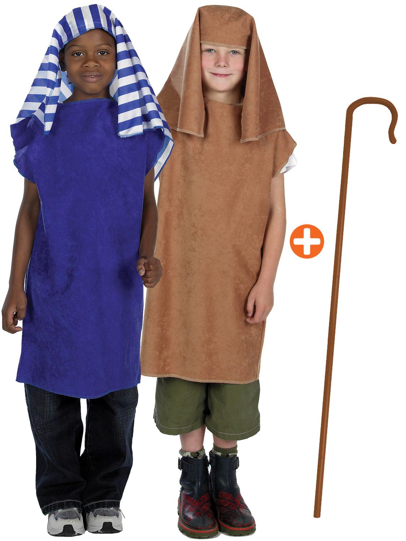 Christmas Fancy Dress Boys Girls Shepherd Brown Costume Crook School Drama
