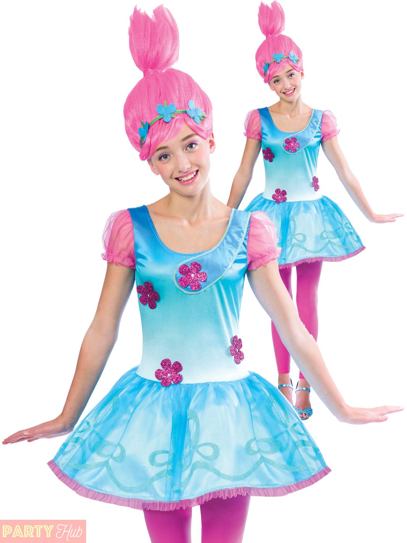 Girls Poppy Trolls Costume Childs Teen TV Film Book Week Fancy Dress ...