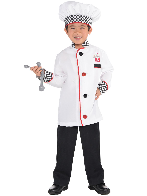kids master chef costume fancy dress up boys girls book day cook bake uniform ebay. Black Bedroom Furniture Sets. Home Design Ideas