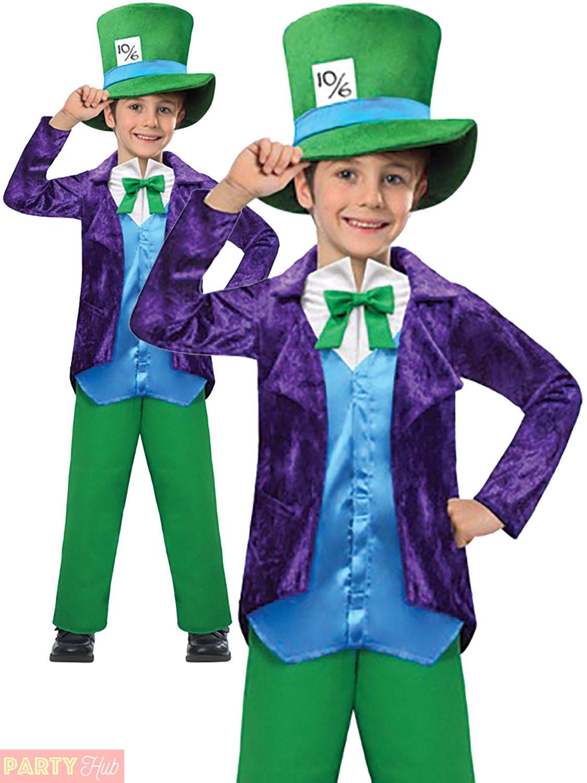 Boys Mad Hatter Costume World Book Week Day Fancy Dress Kids Wonderland Top Hat