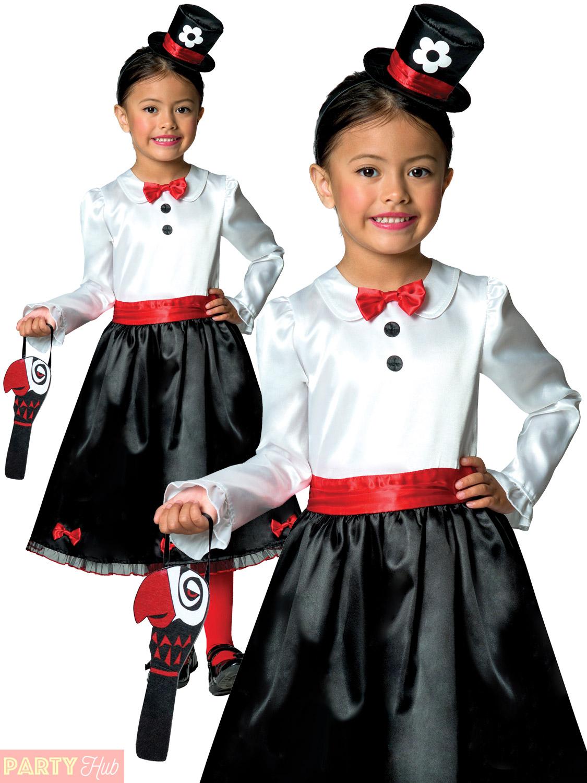 Childrens Victorian Nanny Book Week Costume Dress Up Kids Fancy Dress