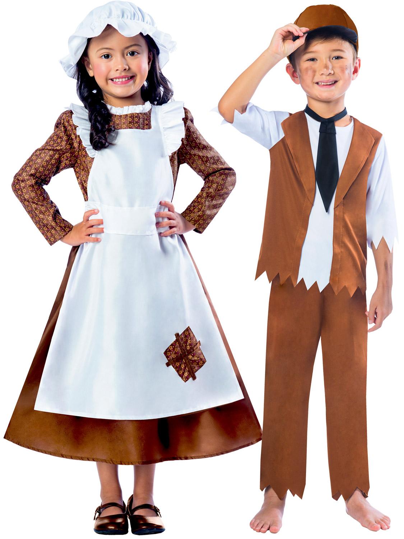 Girls Boys Victorian Costume Maid Servant Kids Child -9176