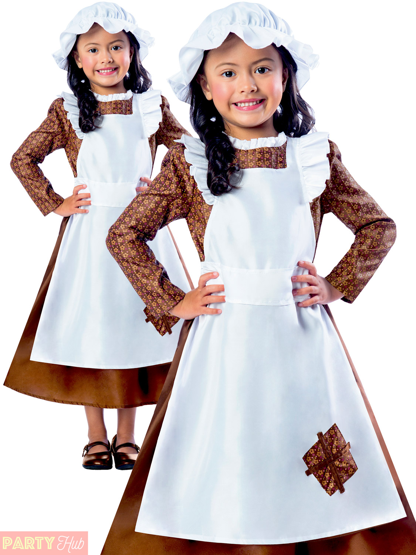 Girls Boys Victorian Costume Maid Servant Kids Child -9849