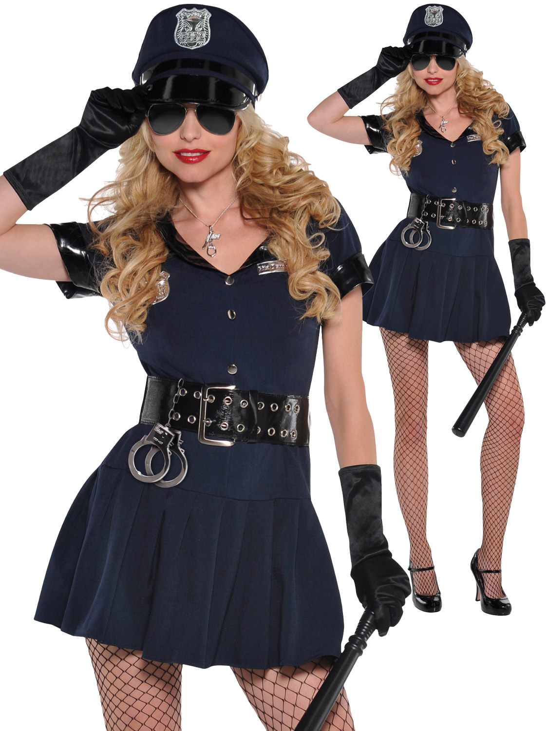 Ladies police officer costume adults sexy cop wpc fancy dress transform yourself into a sexy cop with this ladies police officer costume ideal if you are going to a uniform themed party or even a hen party solutioingenieria Images