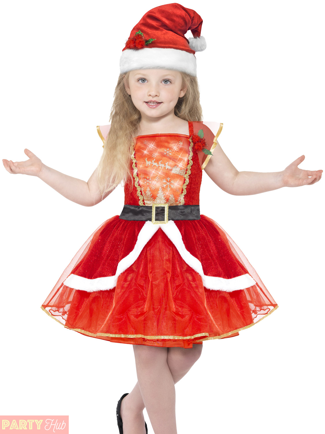 a3cbc368b93 Details about Girls Light Up Miss Santa Costume Childs Christmas Fancy  Dress Kids Xmas Outfit
