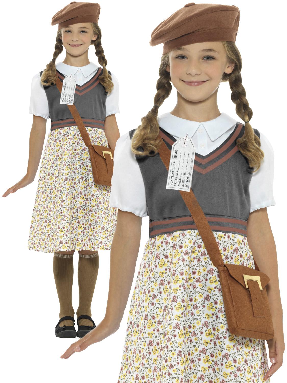 Girl S Evacuee School Girl Costume All Children Fancy
