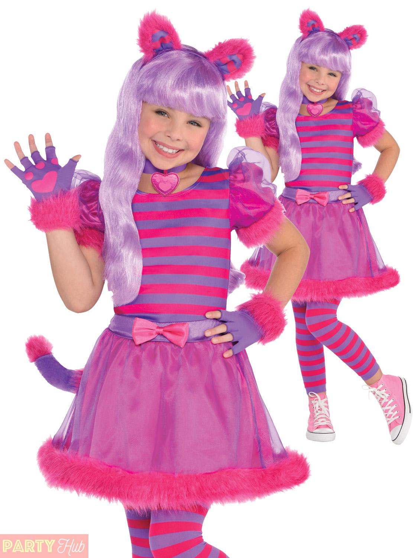 Girls-Cheshire-Cat-Costume-Childs-Alice-Wonderland-Fancy-  sc 1 st  eBay & Girls Cheshire Cat Costume Childs Alice Wonderland Fancy Dress Book ...