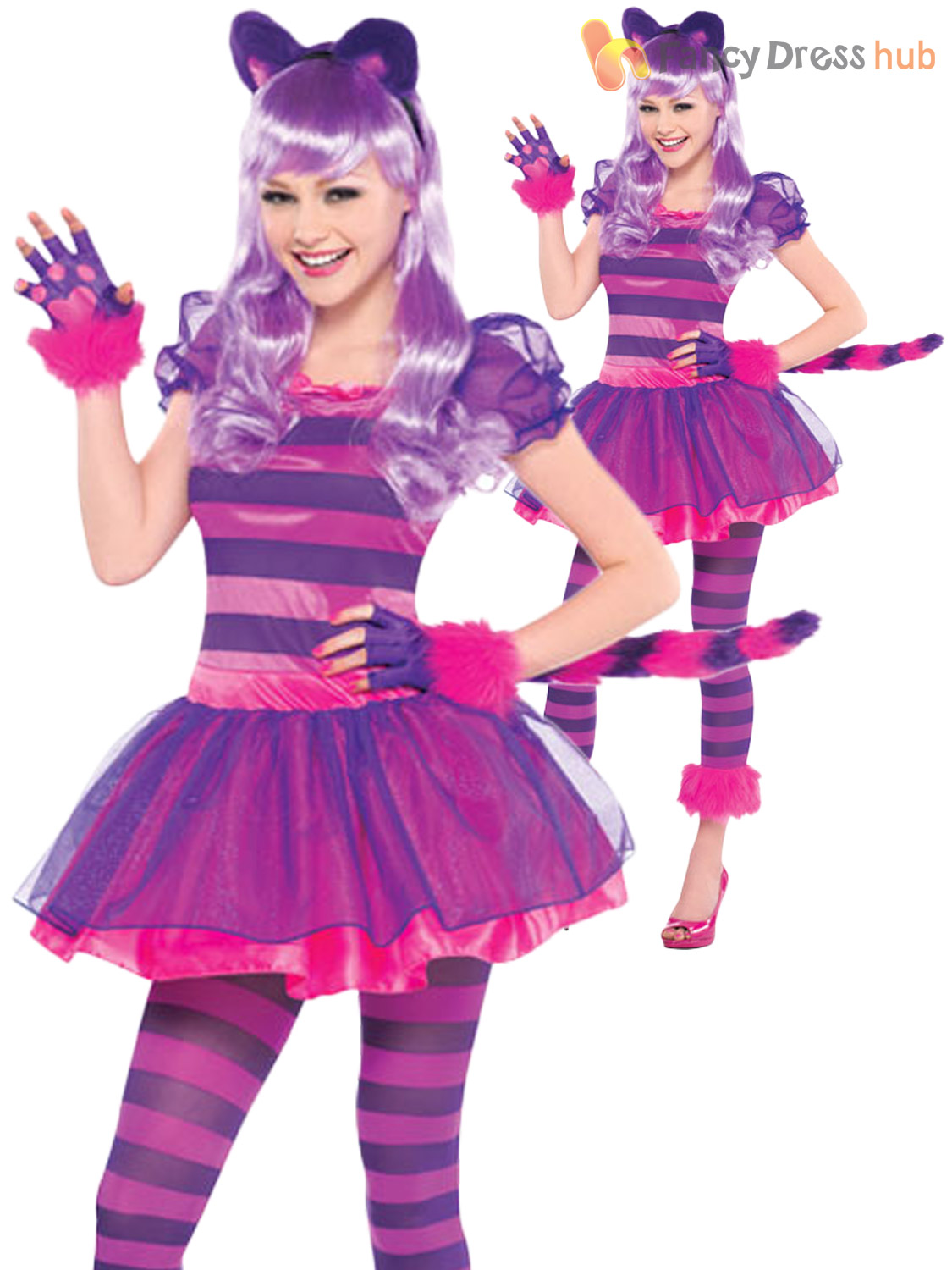 Girls Cheshire Cat Costume Childs Alice in Wonderland Fancy Dress ...