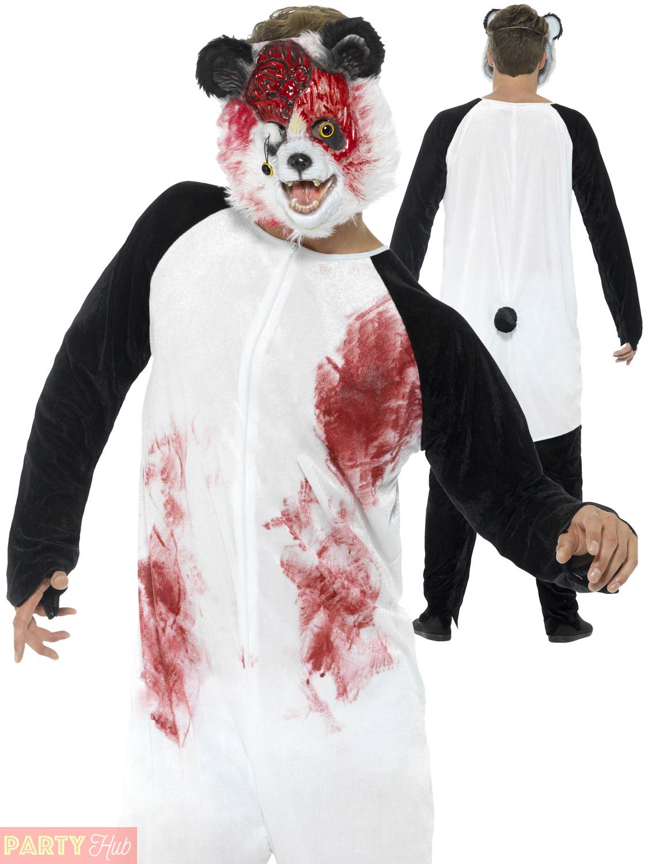 Mens-Zombie-Animal-Costume-Adults-Chimp-Panda-Teddy-  sc 1 st  eBay & Mens Zombie Animal Costume Adults Chimp Panda Teddy Bear Halloween ...
