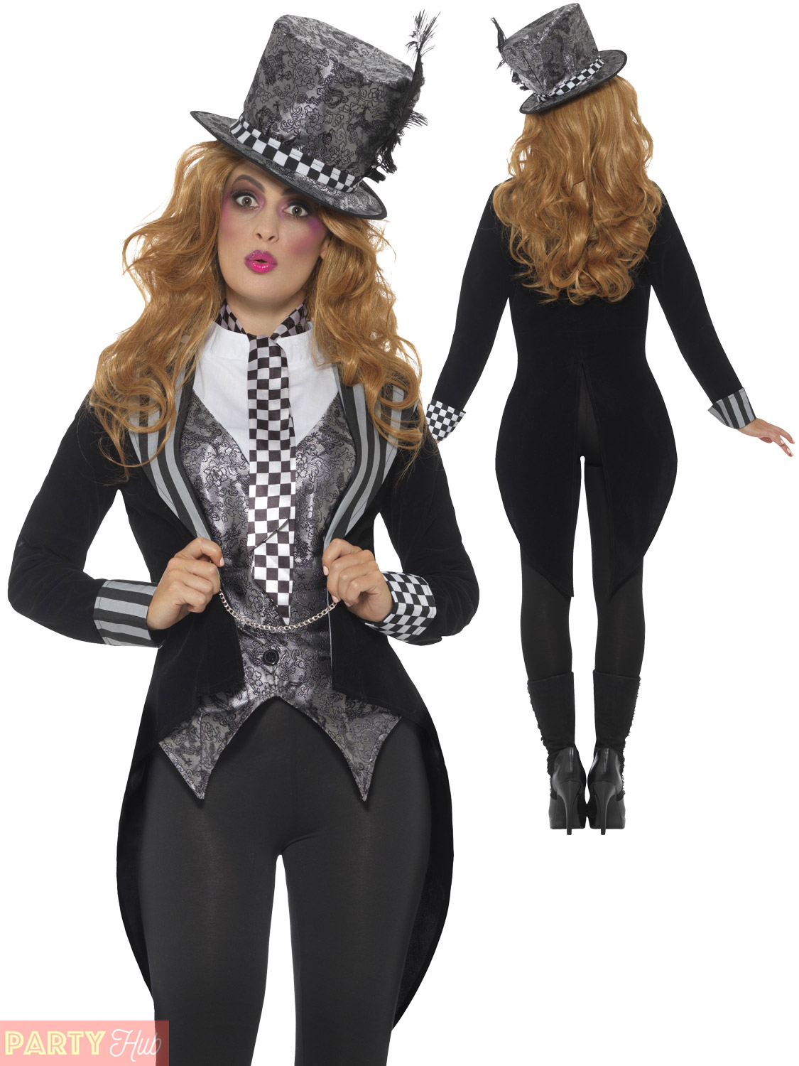 Delux-Dark-Mad-Hatter-Costume-Mens-Ladies-Halloween-  sc 1 st  eBay & Delux Dark Mad Hatter Costume Mens Ladies Halloween Alice Couples ...