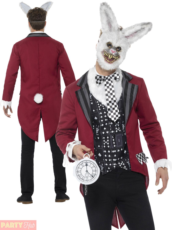 Halloween-Gothic-Alice-In-Wonderland-Costume-Dark-Fancy-  sc 1 st  eBay & Halloween Gothic Alice In Wonderland Costume Dark Fancy Dress Mens ...