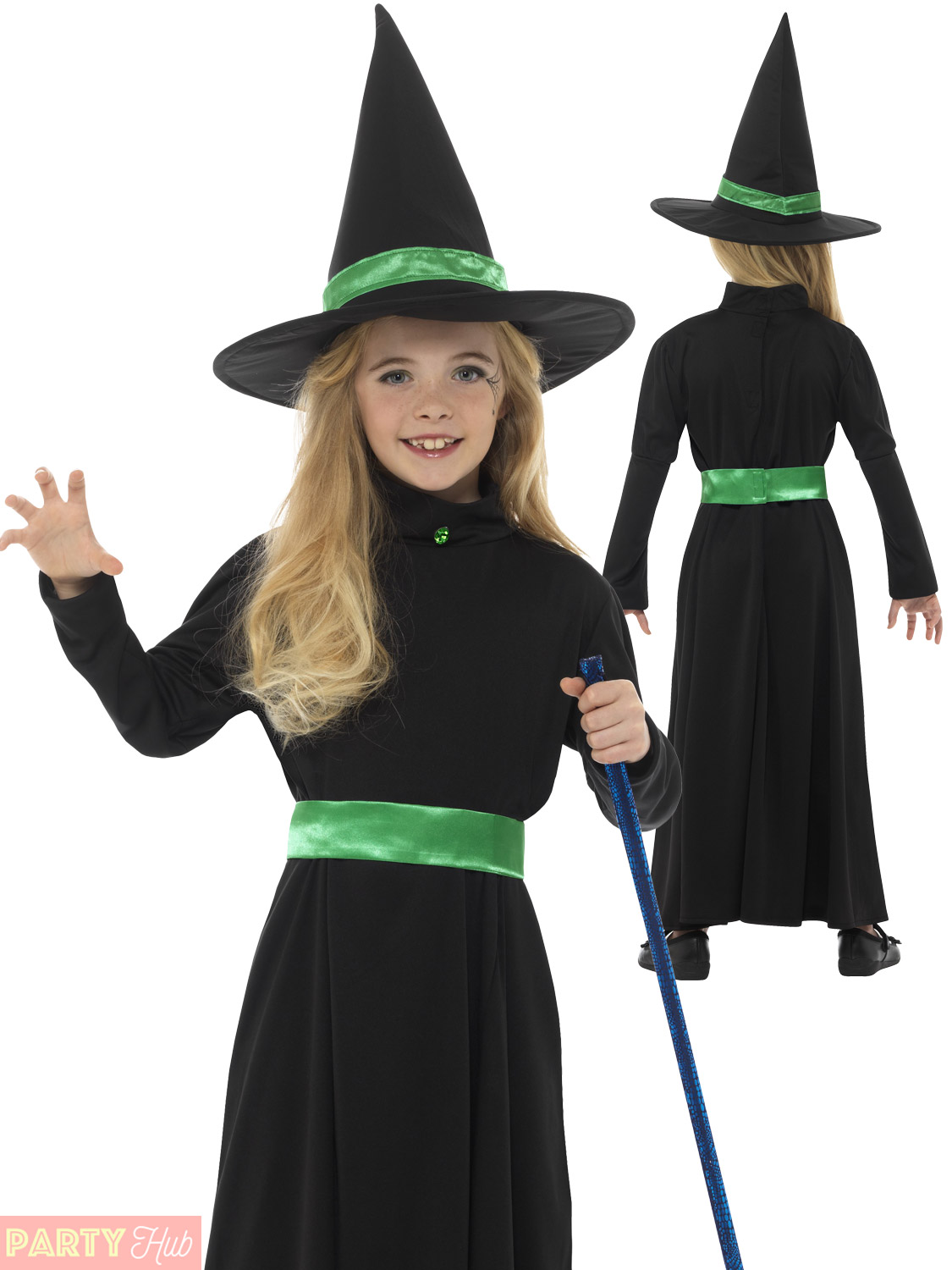 Girls Black Wicked Witch Costume + Hat Childs Long Halloween Fancy ...