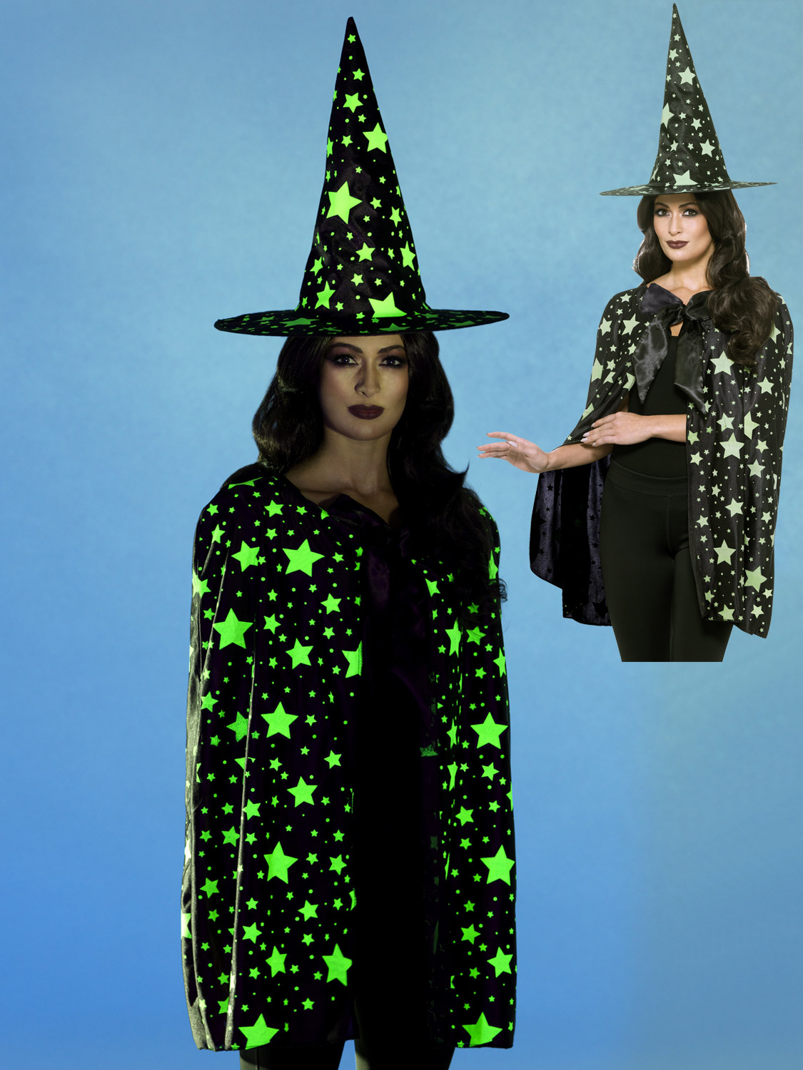 8cf17077368 Details about Ladies Glow In The Dark Witch Cloak+ Hat Witches Halloween  Fancy Dress Costume