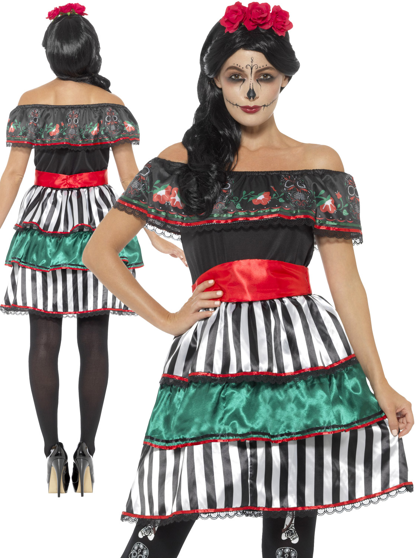 Ladies Day Of The Dead Senorita Costume Halloween Mexican Ad