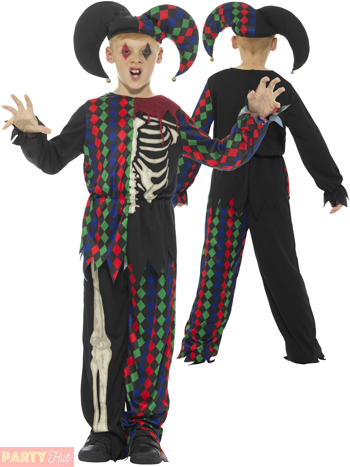 Boys skeleton jester costume childs halloween circus clown fancy boys skeleton jester costume childs halloween circus clown solutioingenieria Image collections