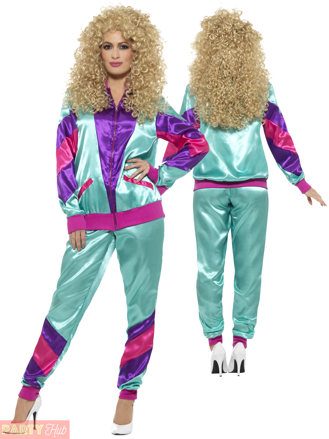 Mens Ladies Shell Suit 80s Fancy Dress Costume Scouser Tracksuit