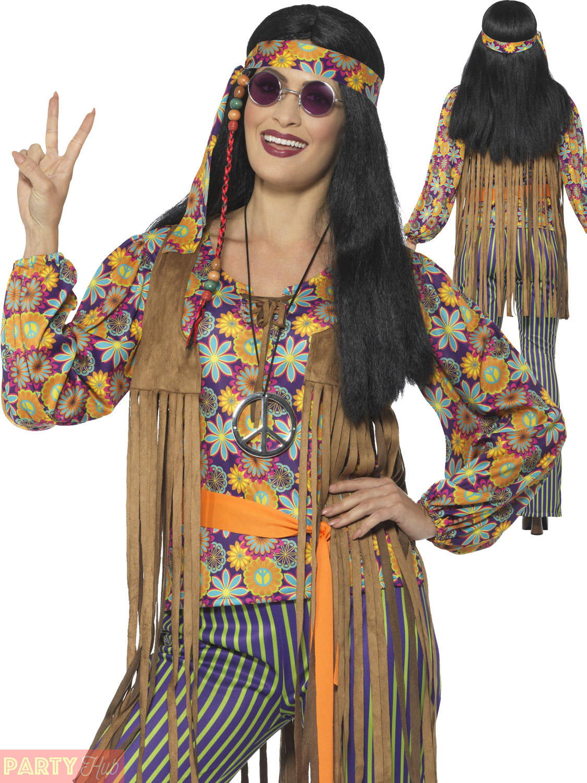 Adults 60s 70s Hippie Costume Mens Ladies Hippy Fancy ...