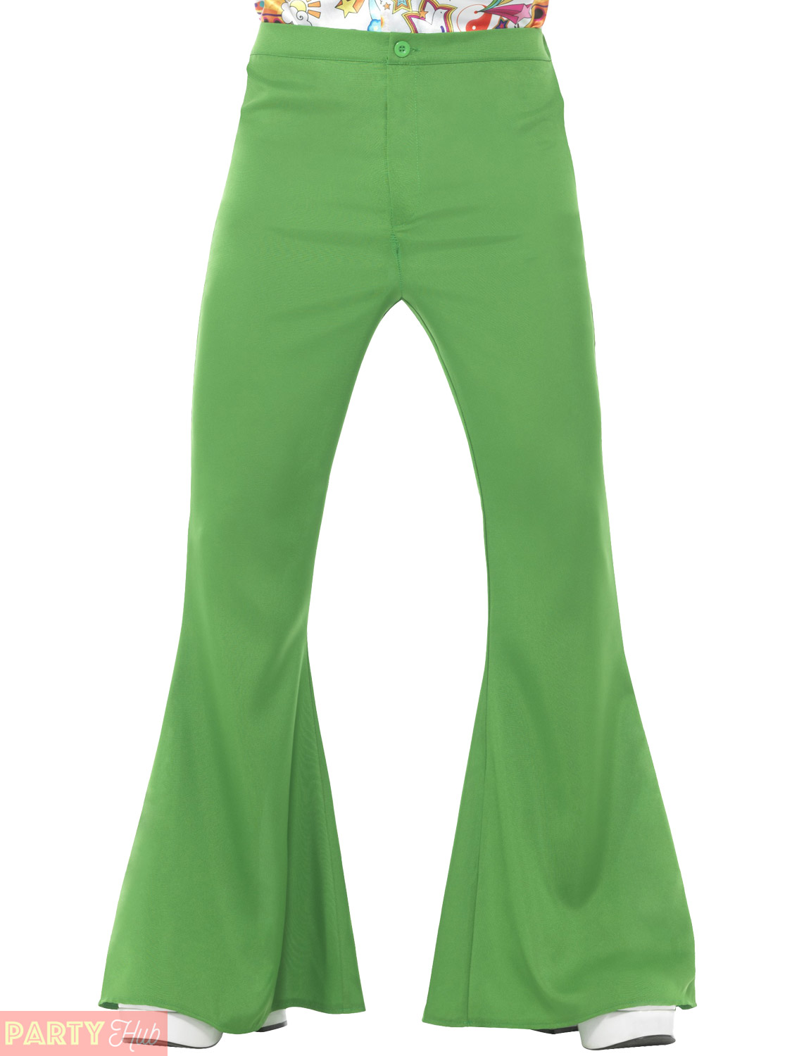 Blue Flared Trousers Mens 60s 70s Fancy Dress Hippy Flares Disco Adults Costume