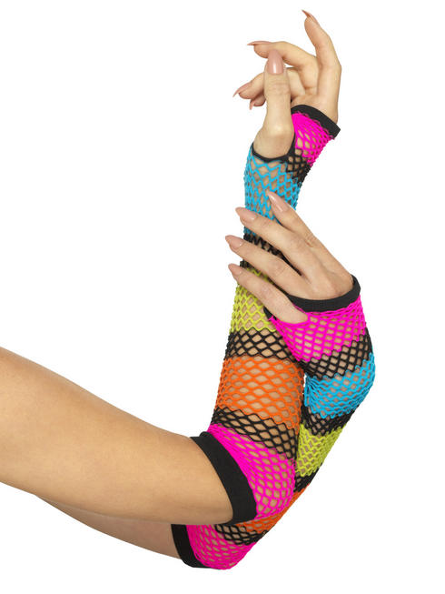 Ladies Striped Fishnet Gloves
