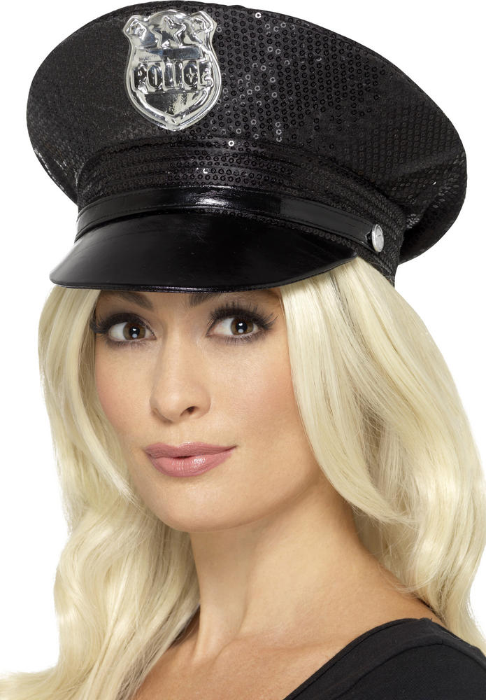 Ladies Fever Sequin Police Hat