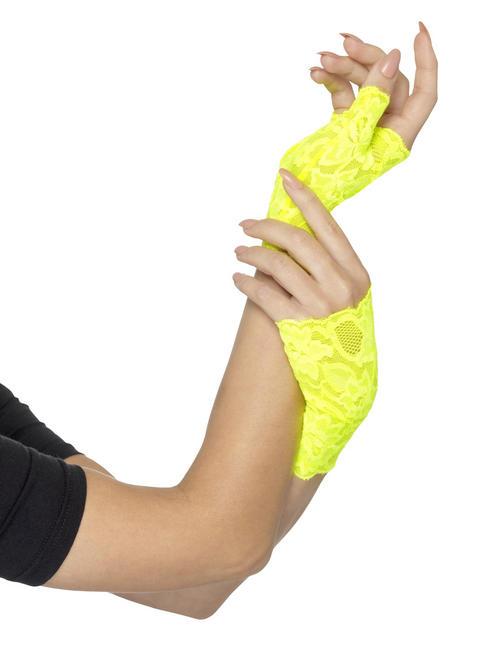 80s Short Yellow Fingerless Gloves