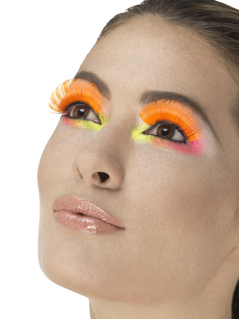80s Neon Orange Party Eyelashes