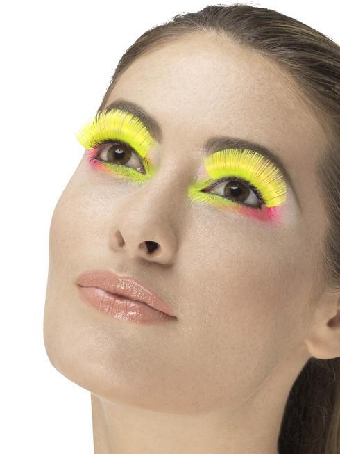 80s Neon Yellow Party Eyelashes