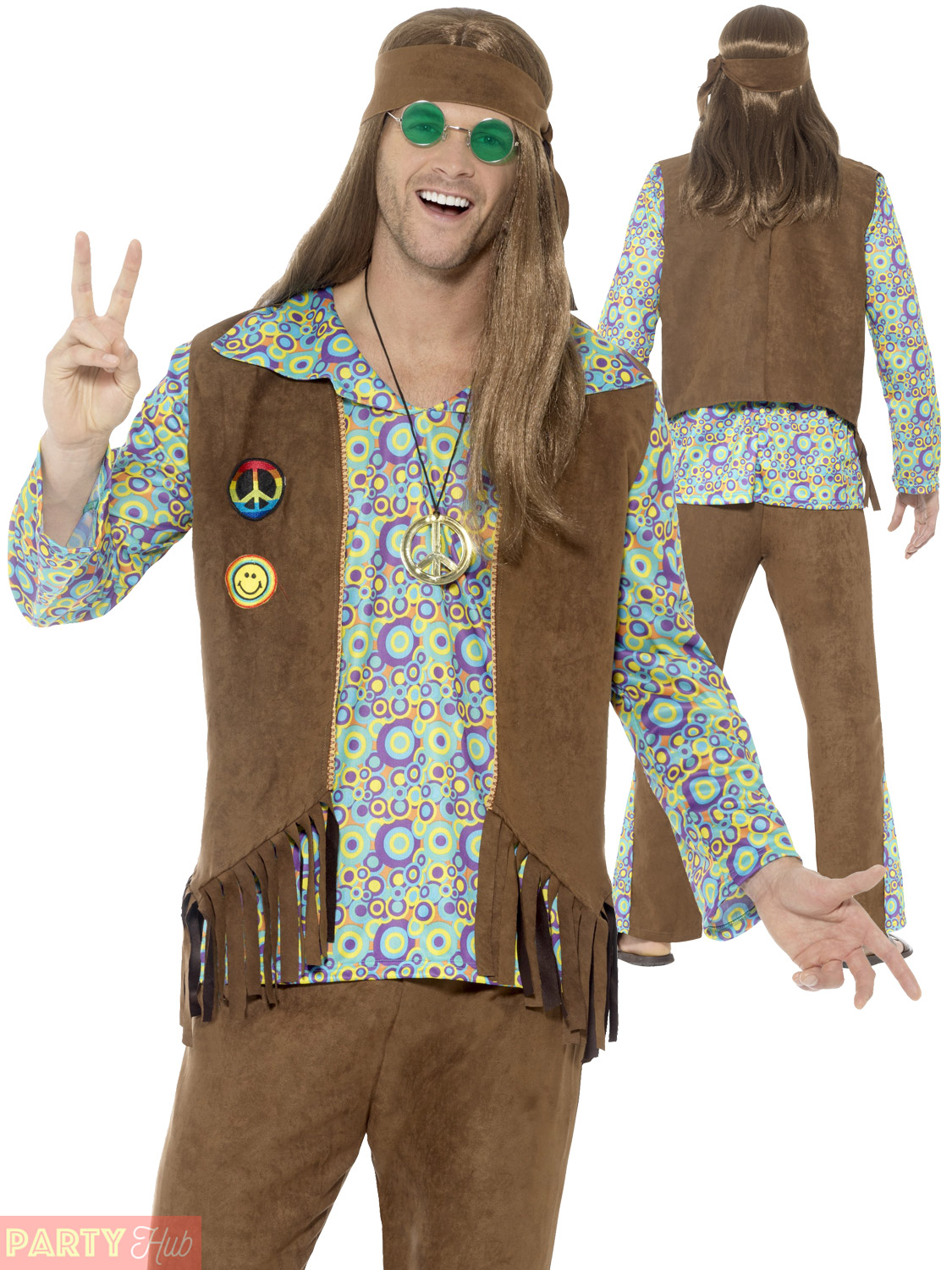 Adults-60s-70s-Hippie-Costume-Mens-Ladies-Hippy-  sc 1 st  eBay & Adults 60s 70s Hippie Costume Mens Ladies Hippy Fancy Dress Womens ...