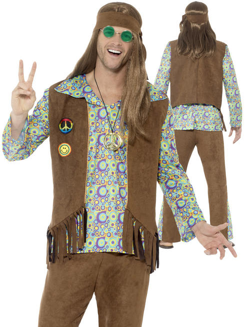 Men's 60s Hippie Costume - Medium