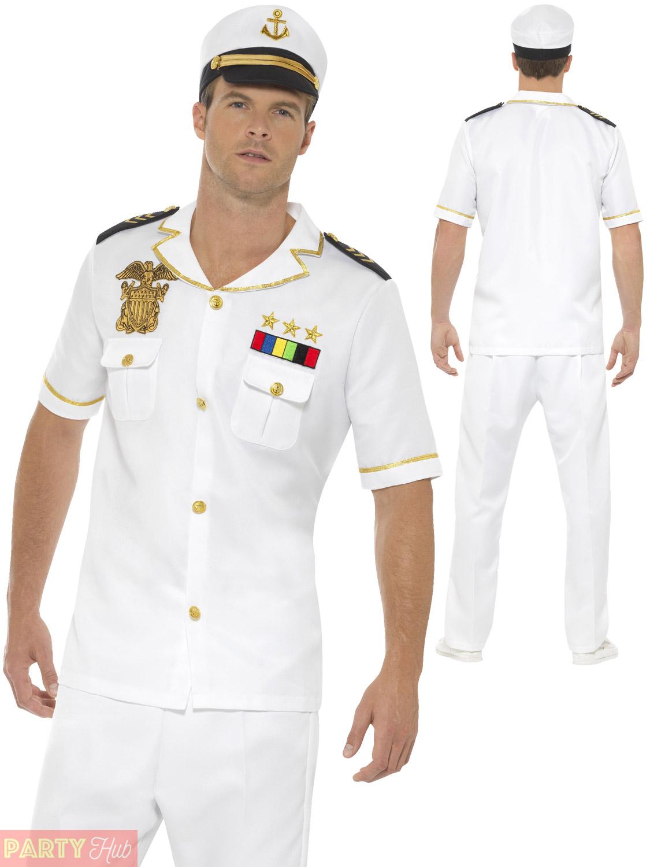 Mens-Sailor-Captain-Costume-Adults-Navy-Officer-Fancy-  sc 1 st  eBay & Mens Sailor Captain Costume Adults Navy Officer Fancy Dress Uniform ...