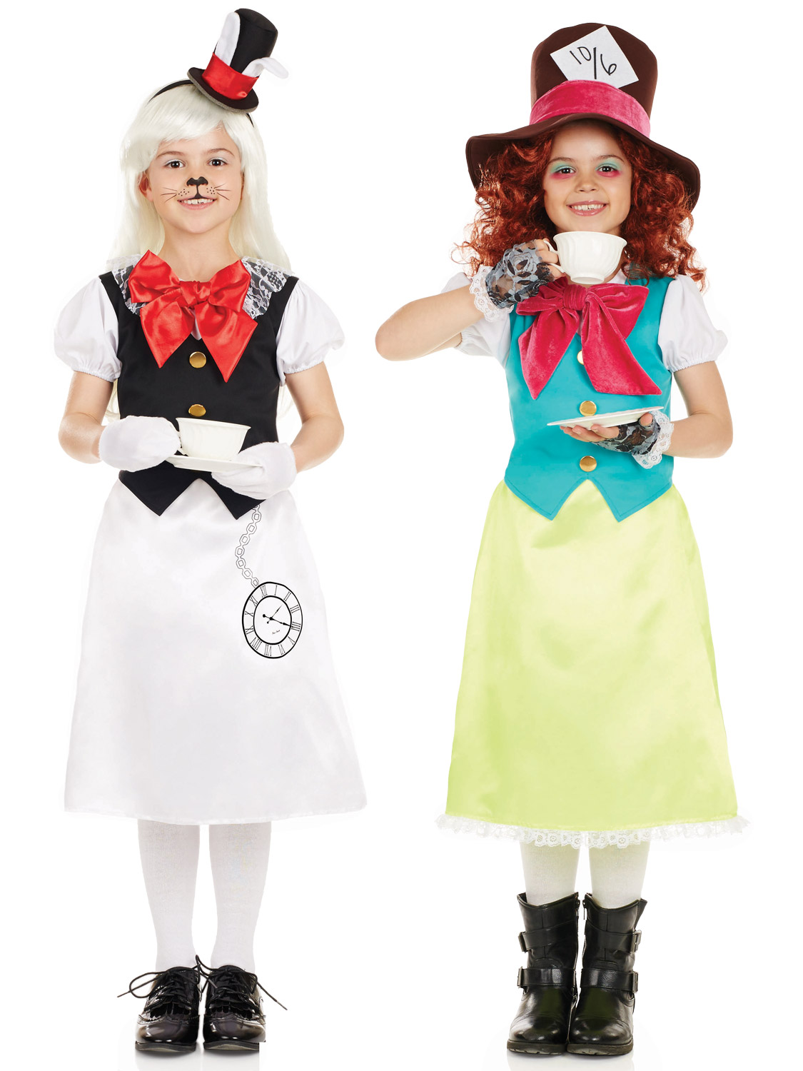 Girls Mad Hatter Costume White Rabbit Fancy Dress Alice ...