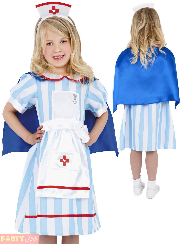 4cfff9bc48e Details about Girls Vintage Nurse Costume Childs Hospital Fancy Dress Kids  Book Week Outfit