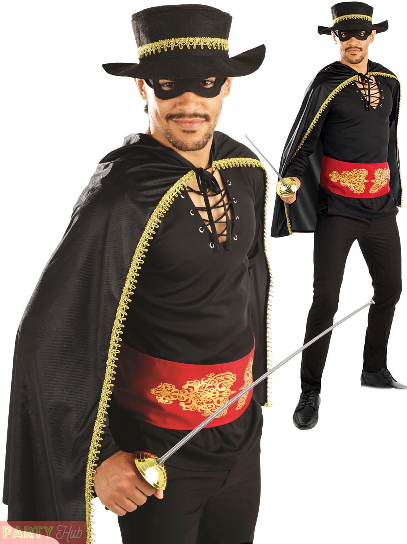 Mens-Senor-Bandit-Costume-Mask-Adults-Zorro-Fancy-  sc 1 st  eBay & Mens Senor Bandit Costume + Mask Adults Zorro Fancy Dress Mexican ...