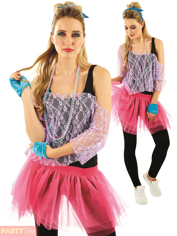 Ladies 1980s Tutu Kit Adults Neon Disco Fancy Dress Womens ...80s Clothes For Women