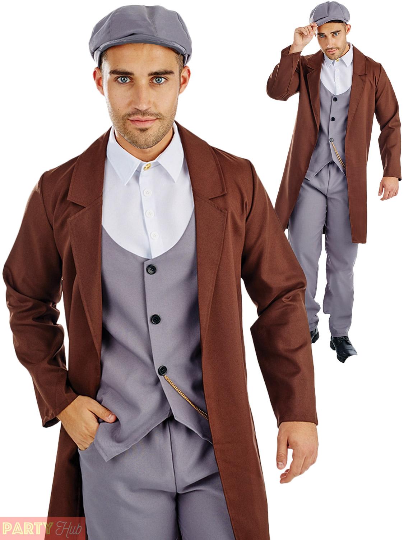Mens 1920s Gangster Costume Adults Mob Boss Fancy Dress