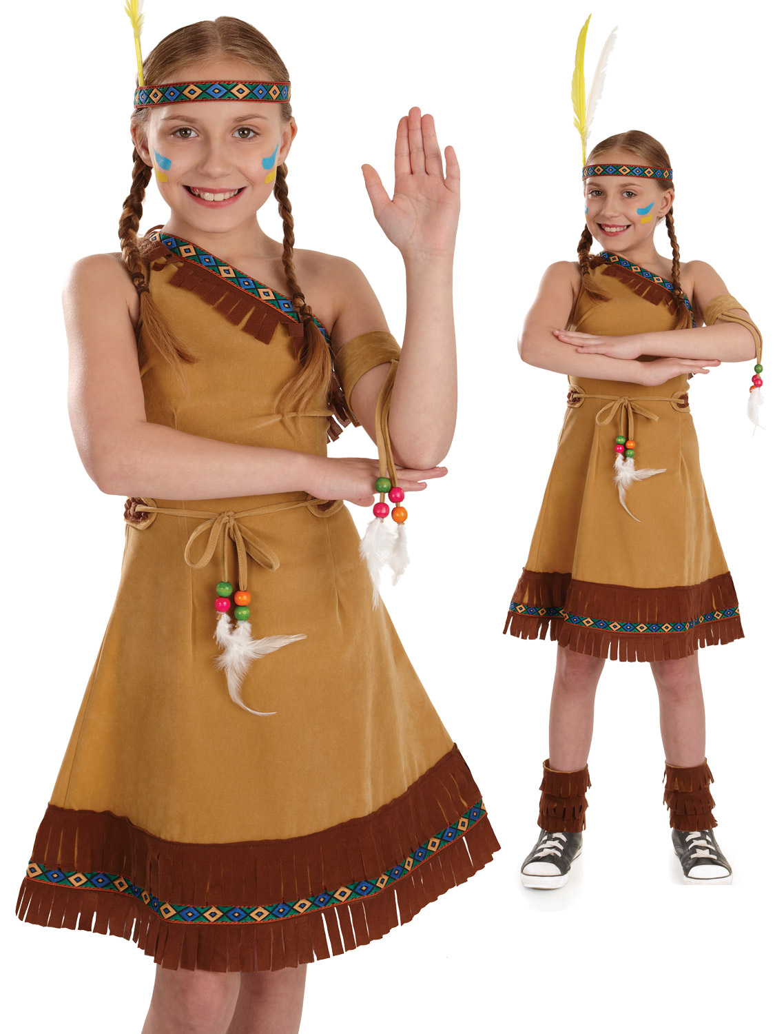 Childs Indian Squaw Costume Girls Pocahontas Fancy Dress ...